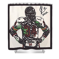 Walter Payton Shower Curtain by Jeremiah Colley