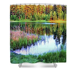 Walton Lake Reflections Shower Curtain by Michele Penner