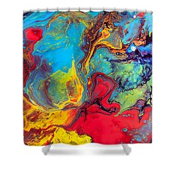 Wanderer - Abstract Colorful Mixed Media Painting Shower Curtain