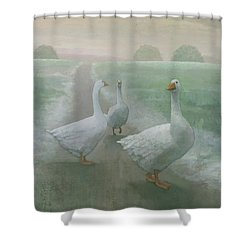 Wandering Geese Shower Curtain by Steve Mitchell