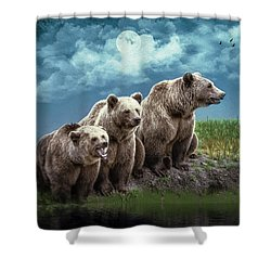 Wanna Go For A Moonlight Swim Shower Curtain by Diane Schuster