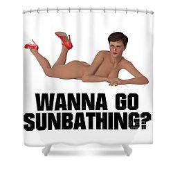 Wanna Go Sunbathing? Shower Curtain by Esoterica Art Agency