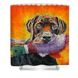 Wannabe Retriever Great Dane Shower Curtain