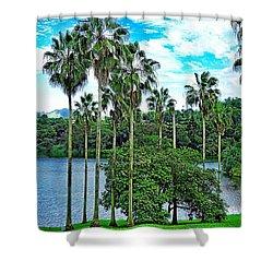 Waokele Pond Palms And Sky Shower Curtain