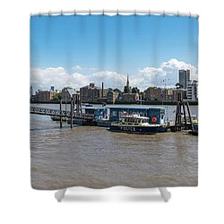 Shower Curtain featuring the photograph Wapping River Police Waterloo Pier by Gary Eason