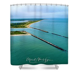 Waquiot Bay Breakwater Shower Curtain