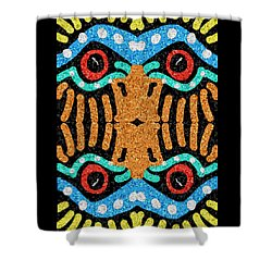 Shower Curtain featuring the digital art War Eagle Totem Mosaic by Shelli Fitzpatrick