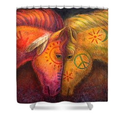War Horse And Peace Horse Shower Curtain