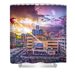 Shower Curtain featuring the photograph War Of The Worlds Detroit By Nicholas Grunas by Nicholas  Grunas