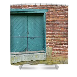 Warehouse Loading Door And Brick Wall Shower Curtain