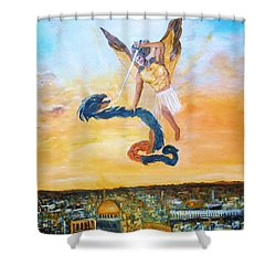 Shower Curtain featuring the painting Warfare Rev 12 Vs7 by Donna Dixon
