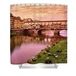 Warm Colors Surround Ponte Vecchio Shower Curtain