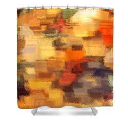 Warm Colors Under Glass - Abstract Art Shower Curtain by Carol Groenen