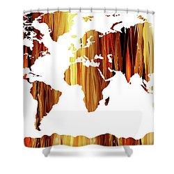 Warm Earthy Canvas World Map Shower Curtain