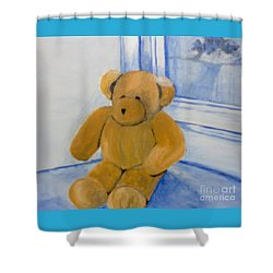 Shower Curtain featuring the painting Warm Friend On A Cold Day by Saundra Johnson