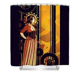 Warm Machinery Shower Curtain by Dani Kaulakis