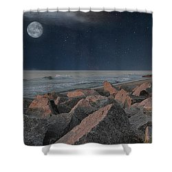 Warm Moonrise At For Fisher Shower Curtain