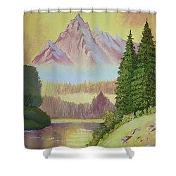 Warm Mountain Shower Curtain