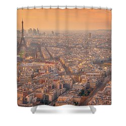 Shower Curtain featuring the photograph Warm Paris Sunset by Darren White