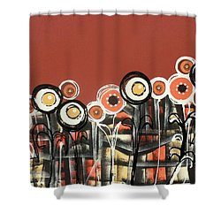 Warm Red Flowers Shower Curtain