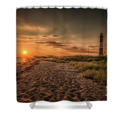 Warm Sunrise At The Fire Island Lighthouse Shower Curtain