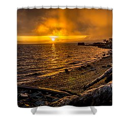 Shower Curtain featuring the photograph Warming Sunrise Commencement Bay by Rob Green