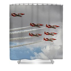 Warming Up Before The Air Show Shower Curtain by Stephan Grixti