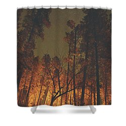 Warmth Of Trees And Stars Shower Curtain