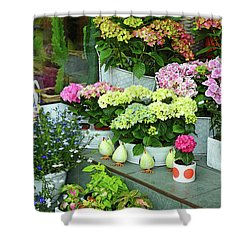 Warnemunde Flower Shop Shower Curtain by Eva Kaufman