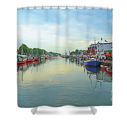 Warnemunde Germany Port Shower Curtain by Eva Kaufman