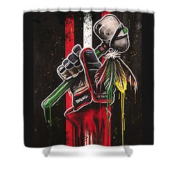 Warrior Glove On Black Shower Curtain