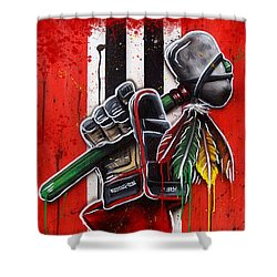 Warrior Glove On Red Shower Curtain by Michael T Figueroa
