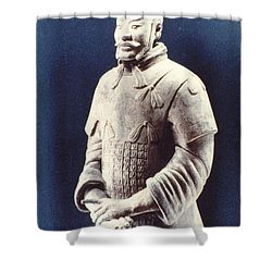 Shower Curtain featuring the photograph Warrior Of The Terracotta Army by Heiko Koehrer-Wagner