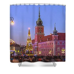 Warsaw Royal Castle Lighted For Christmas Shower Curtain