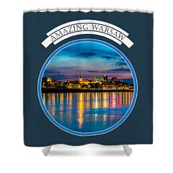 Warsaw Souvenir T-shirt Design 1 Blue Shower Curtain