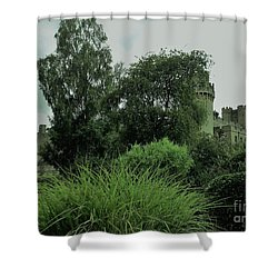 Warwick Castle Bathed In Green Light Shower Curtain