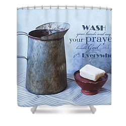 Bathroom Sentiment Shower Curtain by Robin-Lee Vieira