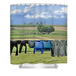 Wash Day In Amish Country Shower Curtain by Dyle   Warren