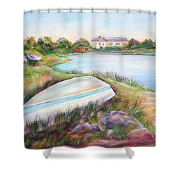 Shower Curtain featuring the painting Washed Up by Patricia Piffath