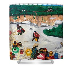 Washing Clothes By The Riverside In Haiti Shower Curtain