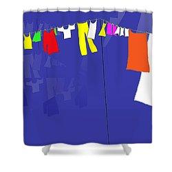 Washing Line Shower Curtain by Barbara Moignard