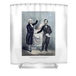 Washington And Lincoln Shower Curtain by War Is Hell Store