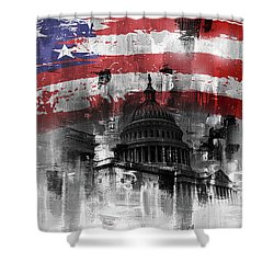 Shower Curtain featuring the painting Washington Dc Building 01a by Gull G