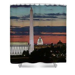 Washington Dc Landmarks At Sunrise I Shower Curtain by Clarence Holmes