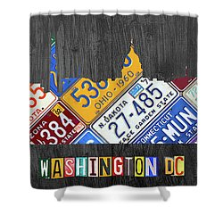 Washington Dc Skyline Recycled Vintage License Plate Art Shower Curtain by Design Turnpike