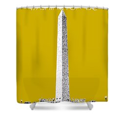 Washington Dc Skyline Washington Monument - Gold Shower Curtain
