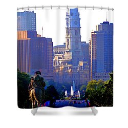 Washington Looking Over To City Hall Shower Curtain by Bill Cannon