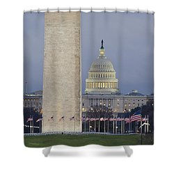 Washington Monument And United States Capitol Buildings - Washington Dc Shower Curtain