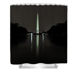 Shower Curtain featuring the photograph Washington Monument At Night by Ed Clark