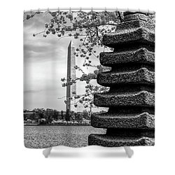 Washington Monument By Japanese Memorial Gift To Usa Shower Curtain